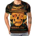 POachers T-Shirt Homme Manches Courte 3D Skull Patterns Col Rond Ete Tee Shirt Tete Mort Casual Lâche Haut Tops Chemise Sport pour Homme M-3XL (M, Noir 2)