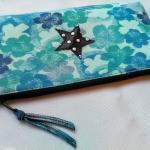 Pochette Zippée , Bleu Turquoise, En Tissu, Étoile Simili Cuir, Cadeau Pour Elle
