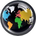 Poignée de chambre Carte du monde colorée Rond en Plastique Cabinet Poignées Boutons de porte tiroir pour chambre d'enfant Chambre à coucher Porte Placard Armoire Pulls 4 Lot 3.5×2.8CM