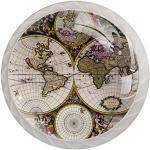 Poignée de coiffeuse Carte du monde 4 pcs Bouton tiroir Tire des Boutons Ronds en pour Le Cabinet tiroir Chambre Enfant tiroir Commode avec vis 3.5×2.8CM
