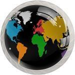 Poignée de coiffeuse Carte du monde colorée 4 pcs Bouton tiroir Tire des Boutons Ronds en pour Le Cabinet tiroir Chambre Enfant tiroir Commode avec vis 3.5×2.8CM