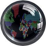 Poignée de coiffeuse Carte du monde couleur 4 pcs Bouton tiroir Tire des Boutons Ronds en pour Le Cabinet tiroir Chambre Enfant tiroir Commode avec vis 3.5×2.8CM