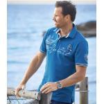 Polos Atlas For Men bleus lavable en machine à manches courtes pour homme