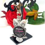 Porte Clé Personnalisé Mamie D'amour Avec Prénom(S, Porte Mamie, Bijoux De Sac Pompon Et Swarovski, Cadeau Fête Des Mamies