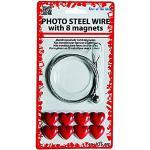 Porte photos Fil métallique + 8 aimants en forme de coeur - Accroche photo magnétique - Cadeau saint valentin