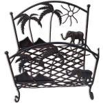Porte revue en métal brossé motif palmier et éléphant