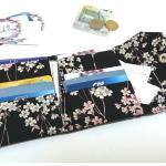 Portefeuille Femme Japonais En Coton Et Simili Cuir Noir À La Fois Porte Cartes Porte-Monnaie, Portefeuille Vegan