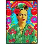 Poster Frida Kahlo Portrait Art Mural, Frida Kahlo in Wonderland Flowers Atmosphere Nouvelle Impression D'image, Meilleure Qualité Reproduction D'art Imprimé Cadeau Décor, Sans Cadre,60x90cm
