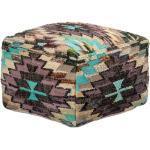Pouf carré en coton multicolore