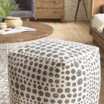 Pouf carré tissu coton imprimé pois gris