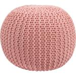 Pouf tricot rose poudré Elisa 40cm