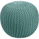 Pouf tricot vert céladon Elisa 40cm