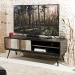 Promo : Meuble TV 1 porte coulissante 2 niches pieds épingle style industriel - Multicolore