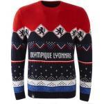 Pulls pour fêtes de Noël Olympique Lyonnais à manches longues pour homme