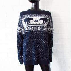Pull Oversize Angelo Litrico/Pull À Tricoter Vintage 90 Pulls Bleu Blanc Unisex Boyfriend
