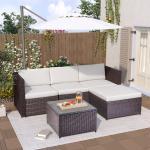 Puluomis - Salon de jardin encastrable 4 places en résine tressée avec coussins Blanc Housse de protection Marron