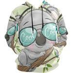 PUXUQU Sweat à capuche à manches longues avec poches pour homme Motif koala - Multicolore - XX-Large
