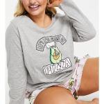 Pyjama Avec Short Motif Avocat Et T-Shirt À Manches Longues Et Inscription « Let's Avo Slice » - Gris Et Rose-Multicolore
