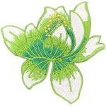 Qinlee Patch Thermocollant Fleur Lotus DIY Broderie Patch Vert Patch de Ecusson Brodé Broderie sur Chapeau vêtements Sacs à Dos T-Shirt Vêtements Décoration Patches