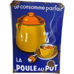 Rare Plaque émaillée La Poule au Pot 1932-1938