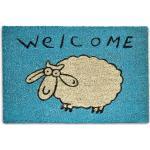 RELAXDAYS Paillasson en fibres de coco Tapis d'entrée « Welcome » avec mouton blanc 60 x 40 cm avec dessous antidérapant PVC en caoutchouc essuie-pieds
