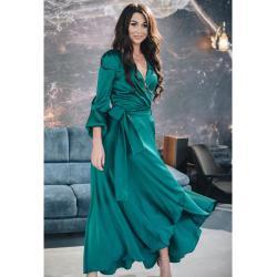 Robe Maxi Wrap Vert Avec 3/4 Manches Feuilletées Armani Soie Artificielle De Cocktail Élégante Pour Femmes