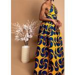 Robe Wax Longue Fleurs Bleus Jaunes  Imprimé Africain  Pagne Sans Manches  Tenue Demoiselle D'honneur