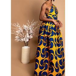Robe Wax Longue Fleurs Bleus Jaunes| Imprimé Africain| Pagne Sans Manches| Tenue Demoiselle D'honneur