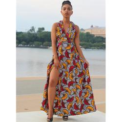 Robe Wax Longue Fleurs De Mariage Rouge Jaune| Imprimé Africain| Infinity Dress Pagne Sans Manches| Tenue Demoiselle D'honneur