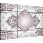 Runa Art Abstrait Mandala Peinture Tableau Salon XXL Gris Rose Diamant 120 x 80 cm 3 Parties Decoracion Murale 023531c
