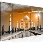 Runa Art Peinture XXL Taj Mahal Inde 200 x 80 cm Jaune 5 Parties - Made in Germany - 600555b