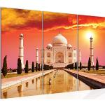 Runa Art Taj Mahal Inde Peinture Tableau Salon XXL Rouge Architecture Temple 120 x 80 cm 3 Parties Decoracion Murale 600531a