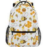 Sac à dos d'école ADMustwin - Imprimé abeille, tournesol, miel - Sac à dos de voyage léger et imperméable pour ordinateur portable - Pour filles, garçons, femmes, hommes, adolescents