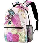 Sac à Dos Enfant Licorne Papillon Rose Sac à Dos école Sac à Dos Imperméable Décontracté avec Fashion Garderie Maternelle Sac 29.4x20x40cm