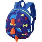 Sac à dos pour enfants - Motif: dinosaures de dessin animé - Doté d'un harnais de sécurité pour éviter de le perdre - Pour garçons ou filles noir foncé