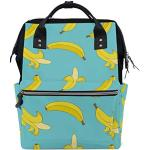 Sac à langer de grande capacité pour maman et papa, imprimé banane, multifonction, étanche, sac à dos de voyage élégant pour maman et papa.