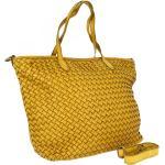 Sac pour femme Ortona fait à la main en cuir tressé jaune avec bandoulière ORTONA senape