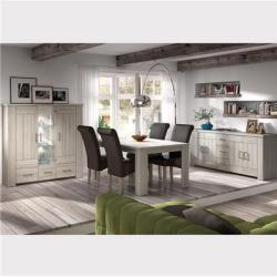 Salle à manger complète contemporaine couleur bois clair OPALINE-L 180 x P 90 x H 78 cm- Gris
