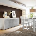 Salle à manger design blanc laqué et effet béton TUNIS 2