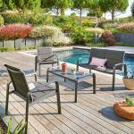 Salon de jardin Elyn Anthracite Graphite 4 places - Aluminium, Texaline