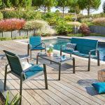 Salon de jardin Elyn Bleu canard Graphite 4 places - Aluminium, Texaline
