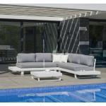 Salon de jardin en aluminium blanc - coussins gris clair - MENFIS HEVEA