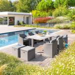 Salon de jardin Jagua Smoke grey 10 places - Aluminium, Texaline, Polyester, Résine plastique