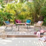 Salon de jardin Lambada Sésame avec table basse rectangulaire 4 places - Acier traité époxy, Résine tressée, Verre trempé et polyester