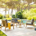 Salon de jardin Tiwi Acacia 4 places - Acacia, Polyester