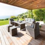 Salon de repas Artemisa Naturae Jardin 7 places - Aluminium traité époxy, Résine tressée, Polyester