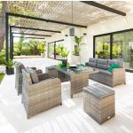 Salon de repas Mayari Terre d'ombre Jardin 7 places - Aluminium traité époxy, résine tressée, Polyester