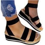 Chaussures de mariage saison été noires à paillettes à talons carrés à lacets avec un talon entre 5 et 7cm plus size look fashion pour femme