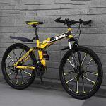 SANJIANG Vélo De Montagne Vélo Pliant De Vélo à Double Frein à Disque 21 Vitesses pour Adolescents Adultes Vélo VTT à Suspension Complète,D-10knifewheels-24inches