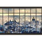 Scenolia Tapisserie Toile Textile Toits de Paris 4 x 2,70m - Décoration Murale Effet Trompe l'Oeil - Revêtement Panoramique Poster XXL - Pose Facile et Qualité HD